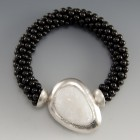 Bead Crocheted Black Pearl - Quartz Drusy - Sterling Bracelet