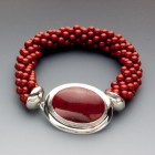 Bead Crocheted Red Jasper and Sterling Bracelet