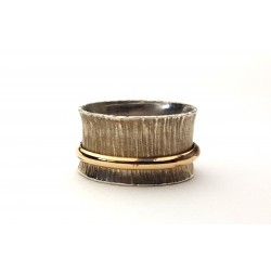 Sterling and Gold Hammered Spinner Ring